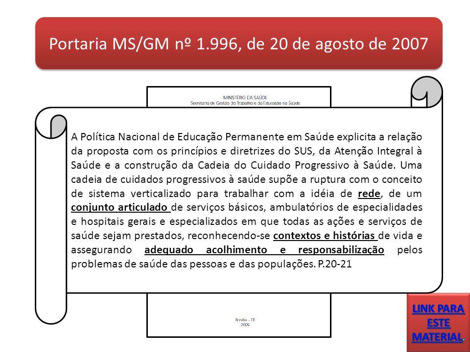 Portaria MS/GM nº 1.996, de 20 de agosto de 2007 A Política Nacional de Educação Permanente em Saúde explicita a relação da proposta com os princípios e diretrizes do SUS, da Atenção Integral à Saúde e a construção da Cadeia do Cuidado Progressivo à Saúde.