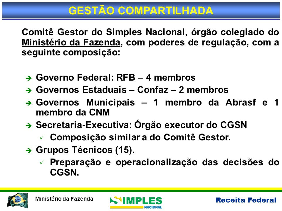 Receita Federal Ministério da Fazenda Ganhos do Simples Nacional (comparativo com lucro presumido – Tributos Federais)