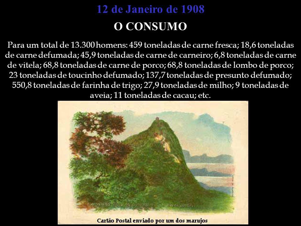 12 de Janeiro de 1908 O CONSUMO Para um total de 13.300 homens: 459 toneladas de carne fresca; 18,6 toneladas de carne defumada; 45,9 toneladas de car