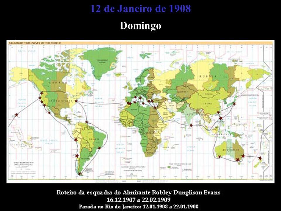 12 de Janeiro de 1908 Domingo Às 14 hóras e 45 minutos aparece a primeira unidade de uma grande esquadra norte-americana que chegava no Rio de Janeiro