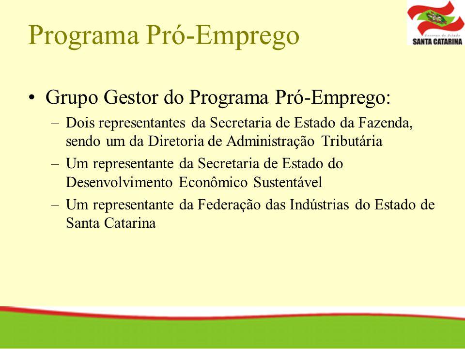 Programa Pró-Emprego Grupo Gestor do Programa Pró-Emprego: –Dois representantes da Secretaria de Estado da Fazenda, sendo um da Diretoria de Administr
