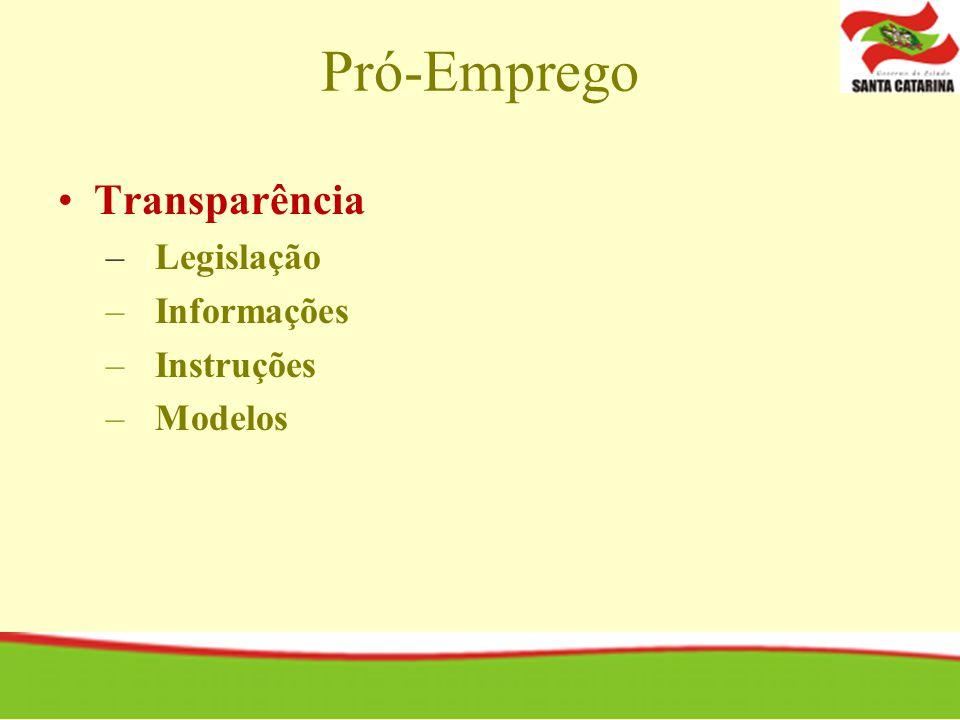 Pró-Emprego Transparência – Legislação – Informações – Instruções – Modelos
