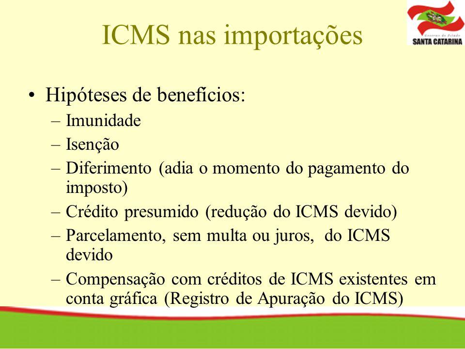 Hipóteses de benefícios: –Imunidade –Isenção –Diferimento (adia o momento do pagamento do imposto) –Crédito presumido (redução do ICMS devido) –Parcel