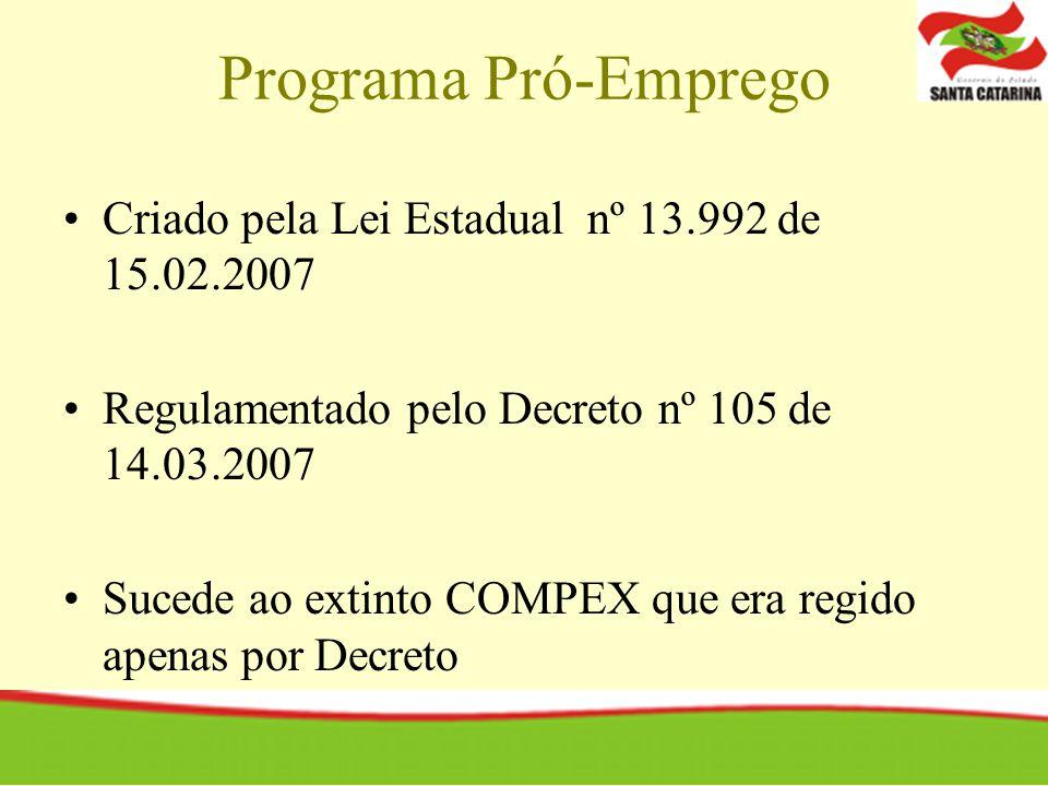 Programa Pró-Emprego Criado pela Lei Estadual nº 13.992 de 15.02.2007 Regulamentado pelo Decreto nº 105 de 14.03.2007 Sucede ao extinto COMPEX que era regido apenas por Decreto