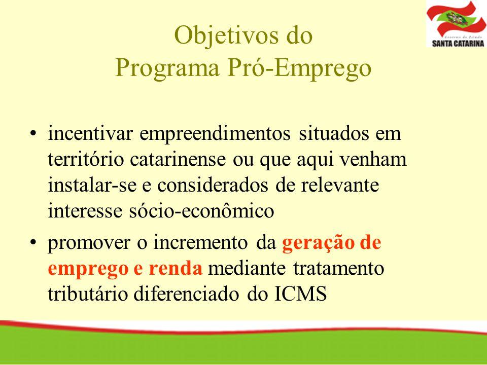 Objetivos do Programa Pró-Emprego incentivar empreendimentos situados em território catarinense ou que aqui venham instalar-se e considerados de relevante interesse sócio-econômico promover o incremento da geração de emprego e renda mediante tratamento tributário diferenciado do ICMS