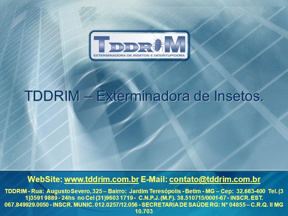 TDDRIM – Exterminadora de Insetos. WebSite: www.tddrim.com.br E-Mail: contato@tddrim.com.br TDDRIM - Rua: Augusto Severo, 325 – Bairro: Jardim Teresóp