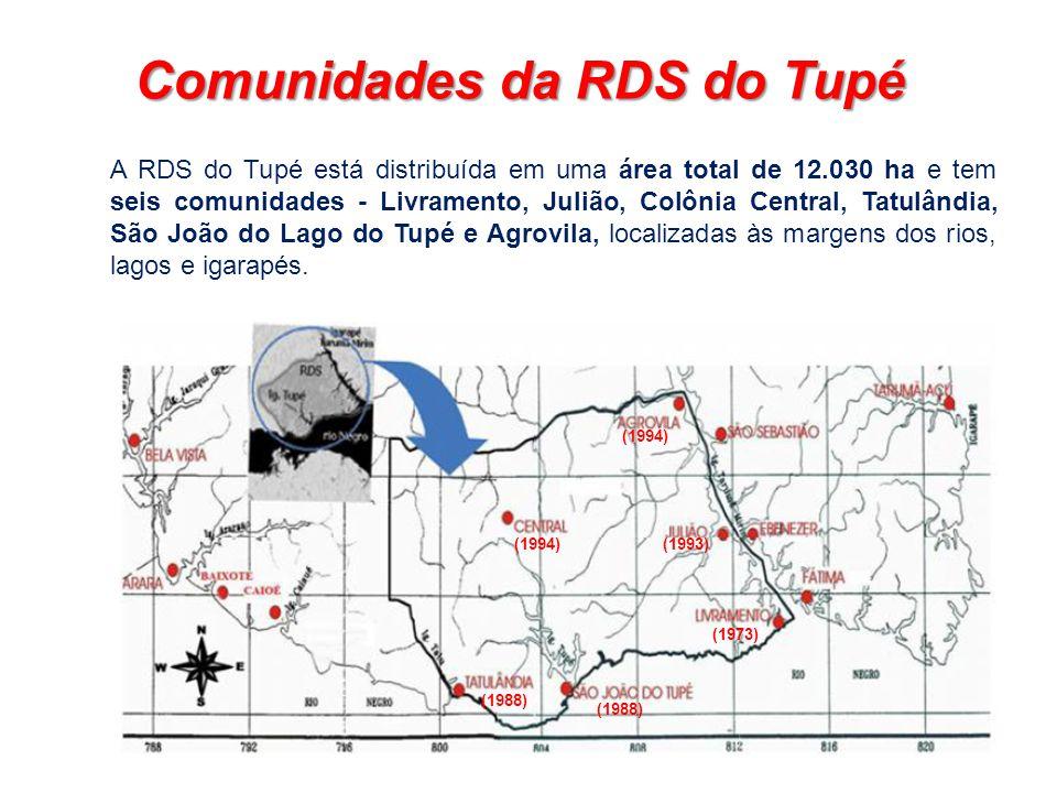A RDS do Tupé está distribuída em uma área total de 12.030 ha e tem seis comunidades - Livramento, Julião, Colônia Central, Tatulândia, São João do La