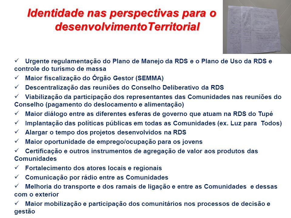 Urgente regulamentação do Plano de Manejo da RDS e o Plano de Uso da RDS e controle do turismo de massa Maior fiscalização do Órgão Gestor (SEMMA) Des
