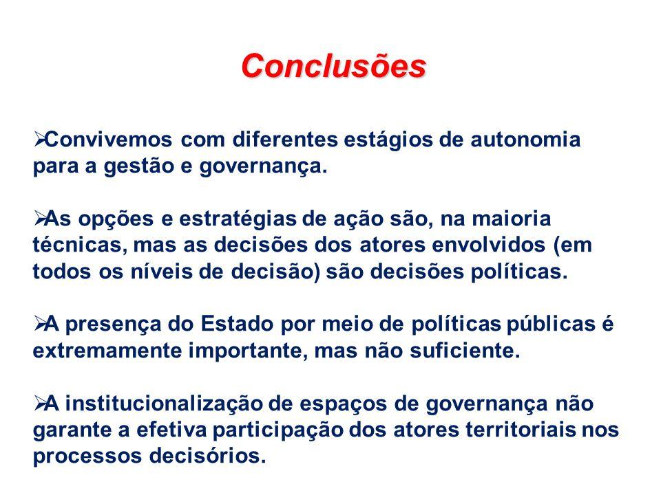 Conclusões Convivemos com diferentes estágios de autonomia para a gestão e governança. As opções e estratégias de ação são, na maioria técnicas, mas a