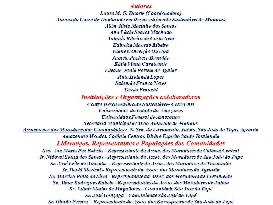 Autores Laura M. G. Duarte (Coordenadora) Alunos do Curso de Doutorado em Desenvolvimento Sustentável de Manaus: Além Silvia Marinho dos Santos Ana Lú