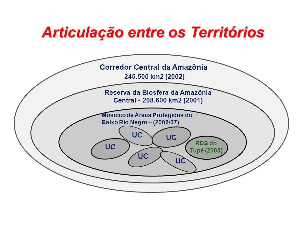 Corredor Central da Amazônia 245.500 km2 (2002) Reserva da Biosfera da Amazônia Central - 208.600 km2 (2001) Mosaico de Áreas Protegidas do Baixo Rio