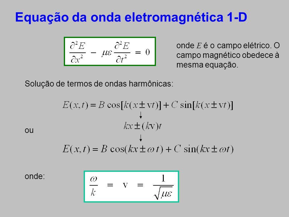 Equação da onda eletromagnética 1-D Solução de termos de ondas harmônicas: ou onde: onde E é o campo elétrico. O campo magnético obedece à mesma equaç