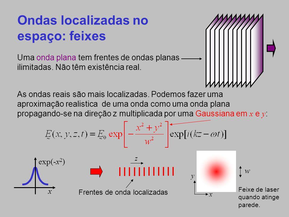 Ondas localizadas no tempo: pulsos Se podemos limitar um feixe no espaço the multiplicando por uma Gaussiana em x e y, podemos também limitá- la no tempo multiplicando por uma Gaussiana no tempo.