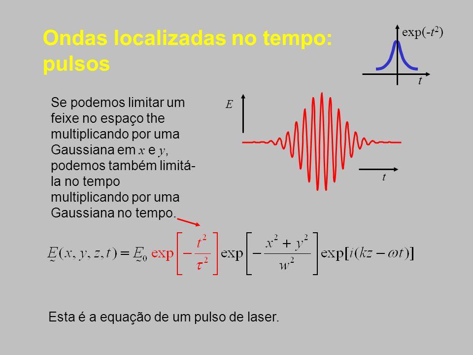 Ondas localizadas no tempo: pulsos Se podemos limitar um feixe no espaço the multiplicando por uma Gaussiana em x e y, podemos também limitá- la no te