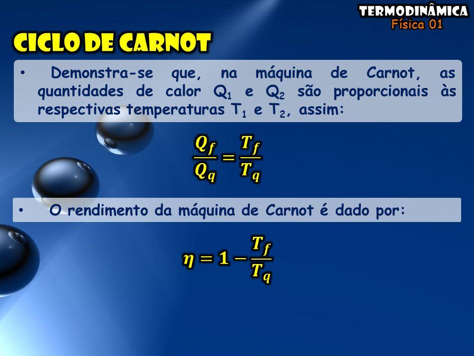 Demonstra-se que, na máquina de Carnot, as quantidades de calor Q 1 e Q 2 são proporcionais às respectivas temperaturas T 1 e T 2, assim: O rendimento