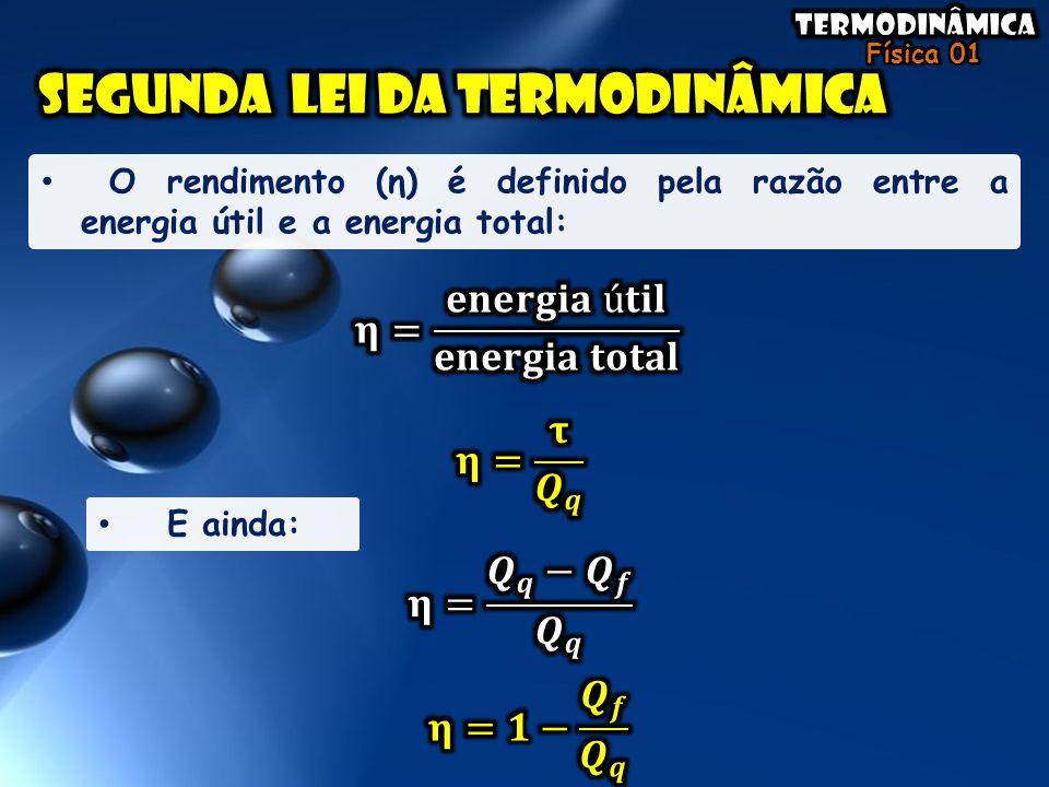 O rendimento (η) é definido pela razão entre a energia útil e a energia total: E ainda: