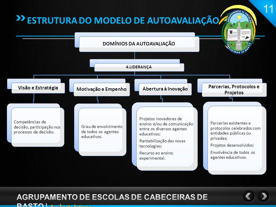 DOMÍNIOS DA AUTOAVALIAÇÃO 4.LIDERANÇA Visão e Estratégia Competências de decisão, participação nos processos de decisão.