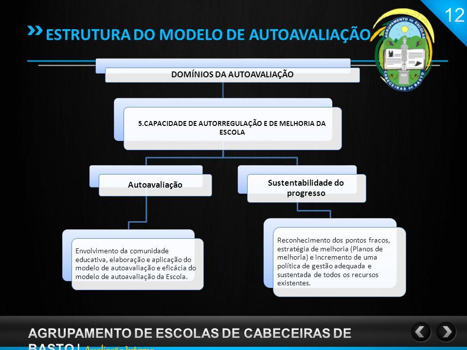 DOMÍNIOS DA AUTOAVALIAÇÃO 5.CAPACIDADE DE AUTORREGULAÇÃO E DE MELHORIA DA ESCOLA Autoavaliação Envolvimento da comunidade educativa, elaboração e aplicação do modelo de autoavaliação e eficácia do modelo de autoavaliação da Escola.