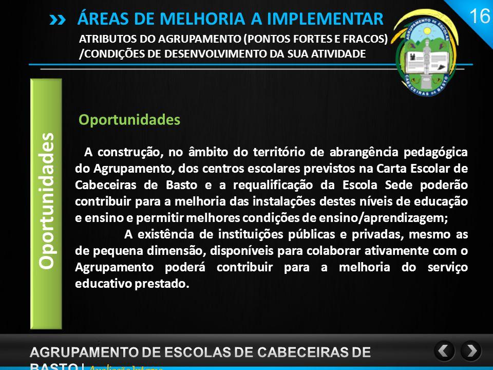 ATRIBUTOS DO AGRUPAMENTO (PONTOS FORTES E FRACOS) /CONDIÇÕES DE DESENVOLVIMENTO DA SUA ATIVIDADE ÁREAS DE MELHORIA A IMPLEMENTAR Oportunidades A construção, no âmbito do território de abrangência pedagógica do Agrupamento, dos centros escolares previstos na Carta Escolar de Cabeceiras de Basto e a requalificação da Escola Sede poderão contribuir para a melhoria das instalações destes níveis de educação e ensino e permitir melhores condições de ensino/aprendizagem; A existência de instituições públicas e privadas, mesmo as de pequena dimensão, disponíveis para colaborar ativamente com o Agrupamento poderá contribuir para a melhoria do serviço educativo prestado.