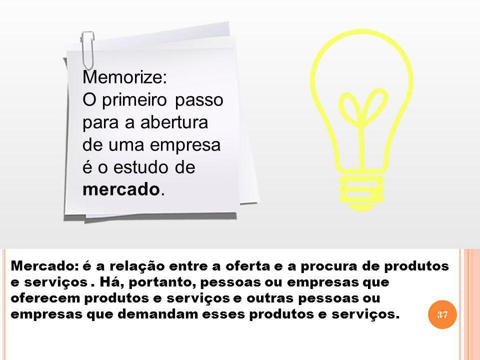 Memorize: O primeiro passo para a abertura de uma empresa é o estudo de mercado. Mercado: é a relação entre a oferta e a procura de produtos e serviço