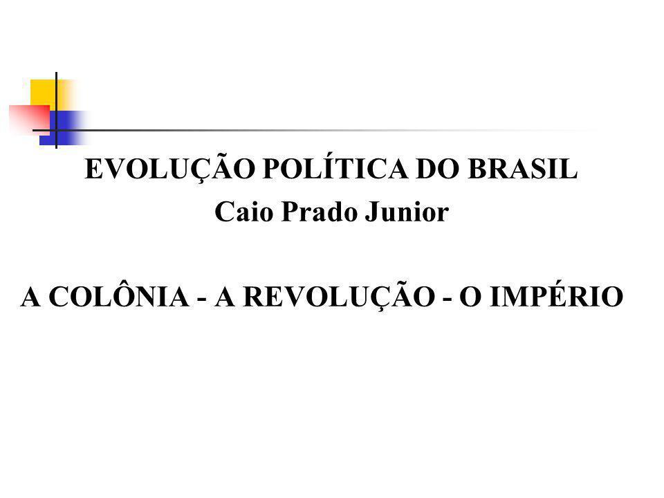 EVOLUÇÃO POLÍTICA DO BRASIL Caio Prado Junior A COLÔNIA - A REVOLUÇÃO - O IMPÉRIO