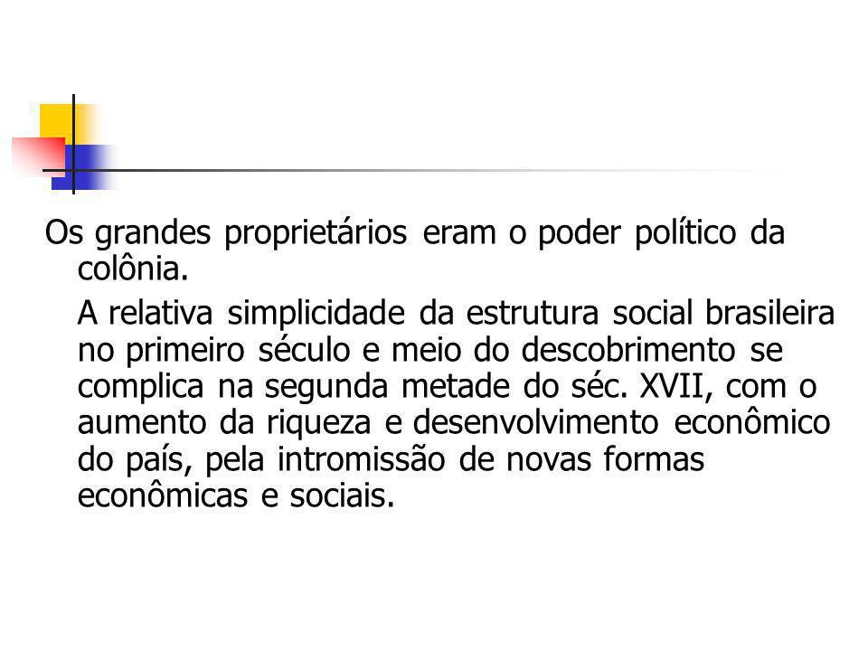 Os grandes proprietários eram o poder político da colônia. A relativa simplicidade da estrutura social brasileira no primeiro século e meio do descobr