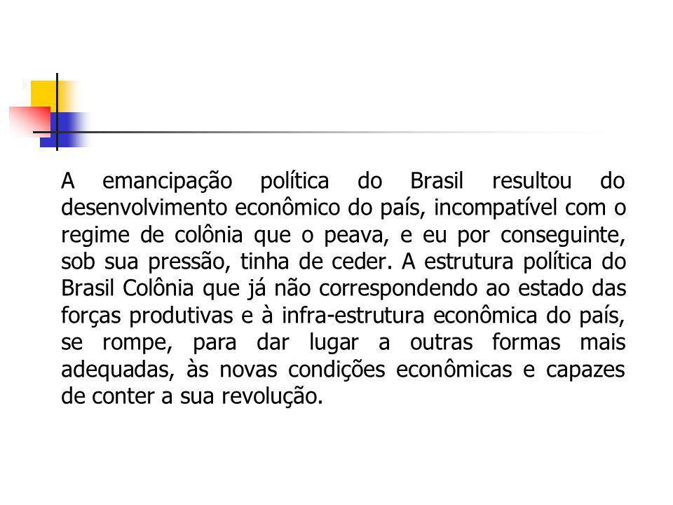 A emancipação política do Brasil resultou do desenvolvimento econômico do país, incompatível com o regime de colônia que o peava, e eu por conseguinte
