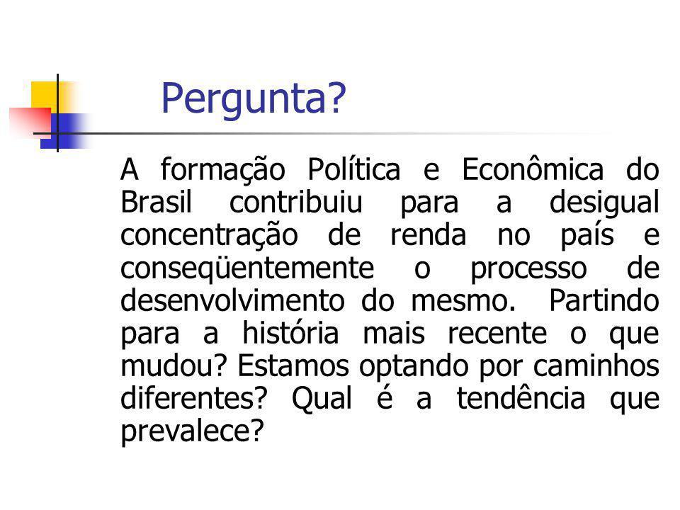 Pergunta? A formação Política e Econômica do Brasil contribuiu para a desigual concentração de renda no país e conseqüentemente o processo de desenvol