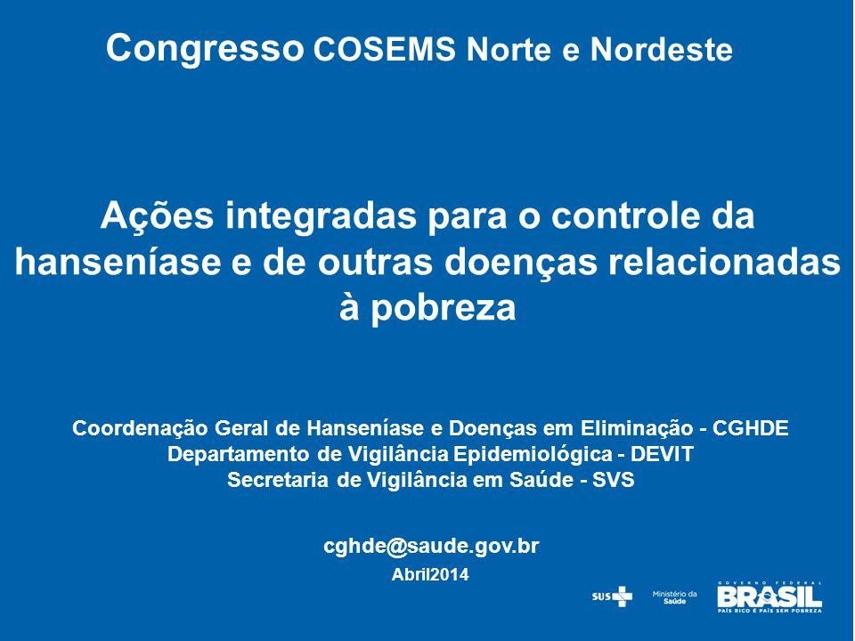 Estado (Nº de municípios) Examinados (faixa etária 5- 14 anos) Casos % de positividade Tratamentos realizados (alunos) Tratamentos realizados nos contatos domiciliares dos casos ( alunos) Rio Grande do Norte (7) 9.8461972,0197623 Rondônia (3) 7.1443595,027625 Roraima (2) 2.26932214,2106455 São Paulo (9) 6.5801221,9361370 Tocantins (12) 14.8451.0136,8360155 Maranhão (1) 3.7622105,6418 Total Geral (34)44.4462.2235,12.2991.236 Fonte: DATASUS/FORMSUS resultado em 31/12/2013.