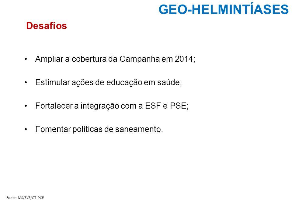 GEO-HELMINTÍASES Fonte: MS/SVS/GT PCE Desafios Ampliar a cobertura da Campanha em 2014; Estimular ações de educação em saúde; Fortalecer a integração