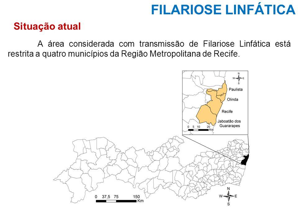 FILARIOSE LINFÁTICA A área considerada com transmissão de Filariose Linfática está restrita a quatro municípios da Região Metropolitana de Recife. Sit