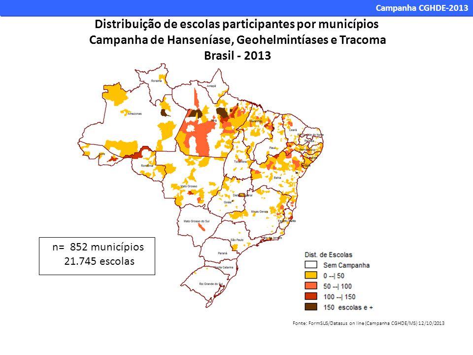 Distribuição de escolas participantes por municípios Campanha de Hanseníase, Geohelmintíases e Tracoma Brasil - 2013 n= 852 municípios 21.745 escolas