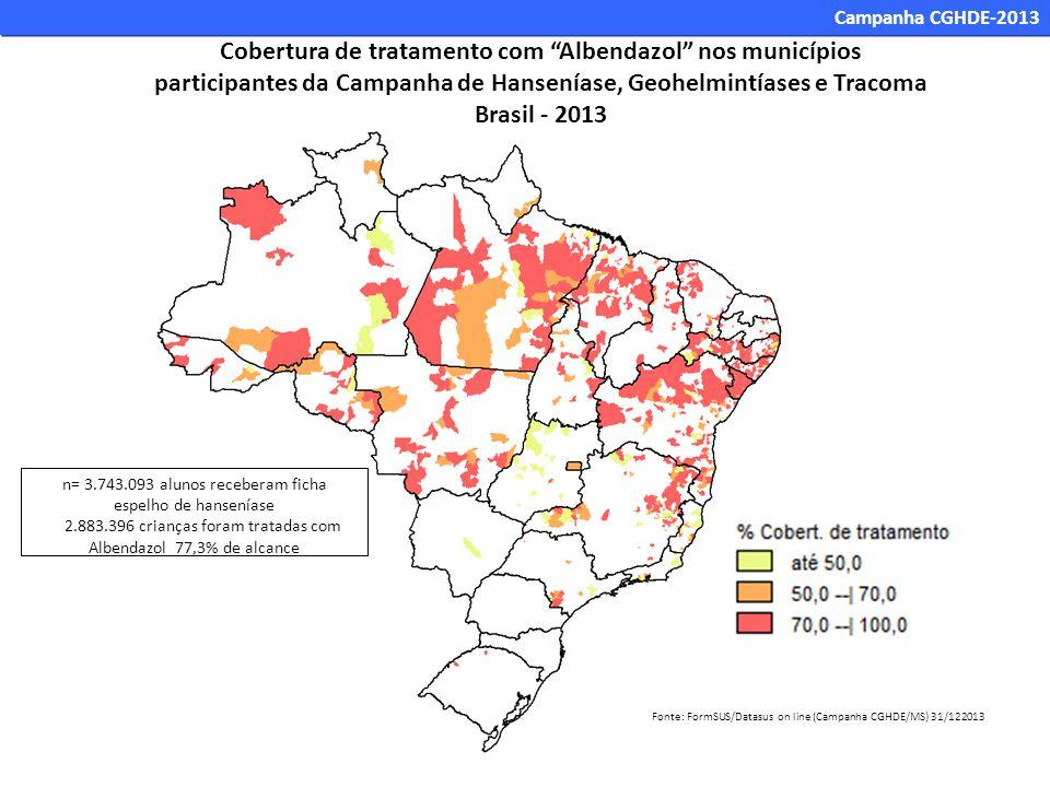 n= 3.743.093 alunos receberam ficha espelho de hanseníase 2.883.396 crianças foram tratadas com Albendazol 77,3% de alcance Fonte: FormSUS/Datasus on