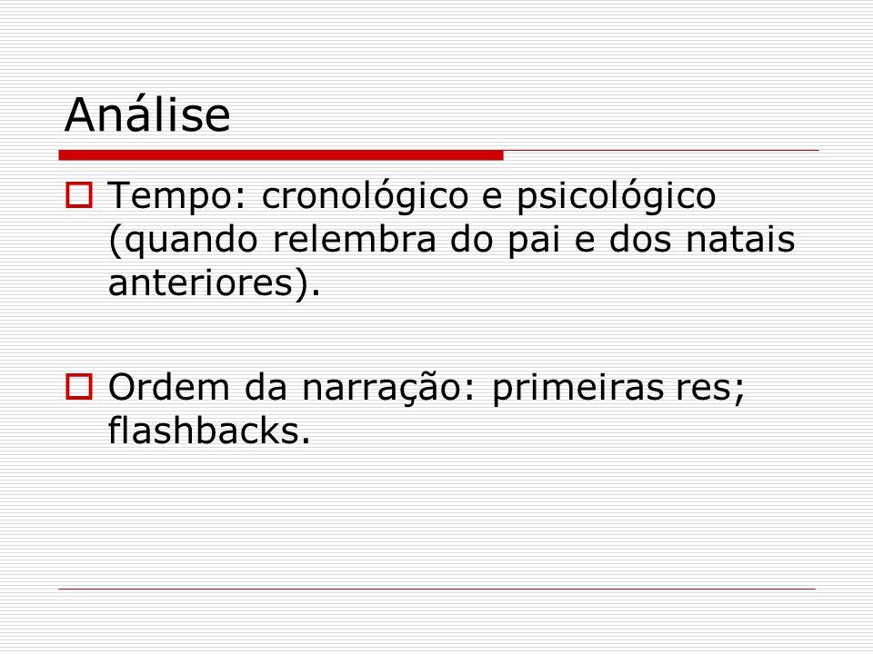 Análise Tempo: cronológico e psicológico (quando relembra do pai e dos natais anteriores). Ordem da narração: primeiras res; flashbacks.