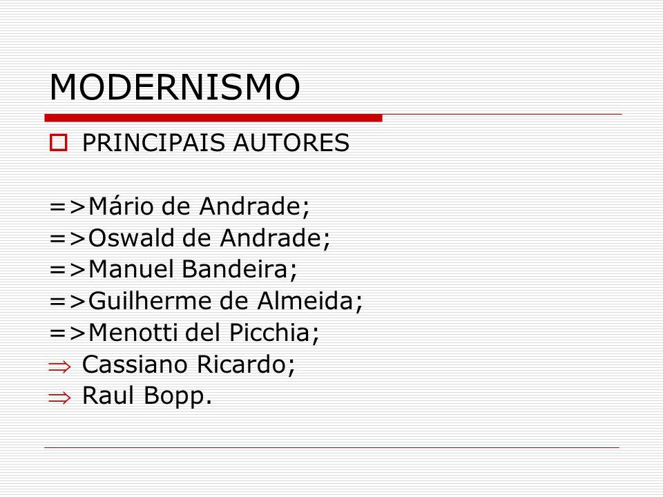 MODERNISMO PRINCIPAIS AUTORES =>Mário de Andrade; =>Oswald de Andrade; =>Manuel Bandeira; =>Guilherme de Almeida; =>Menotti del Picchia; Cassiano Rica
