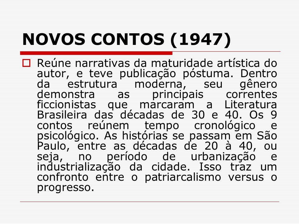 NOVOS CONTOS (1947) Reúne narrativas da maturidade artística do autor, e teve publicação póstuma. Dentro da estrutura moderna, seu gênero demonstra as