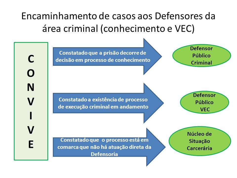 Encaminhamento de casos aos Defensores da área criminal (conhecimento e VEC) Núcleo de Situação Carcerária CONVIVECONVIVE Defensor Público VEC Defenso
