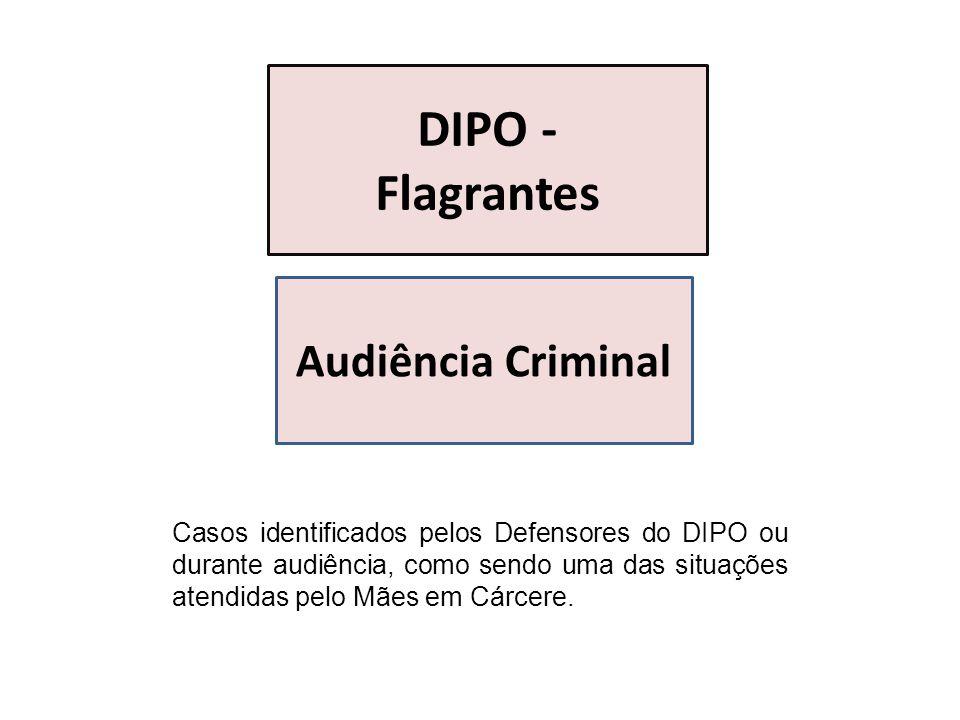 Casos identificados pelos Defensores do DIPO ou durante audiência, como sendo uma das situações atendidas pelo Mães em Cárcere. DIPO - Flagrantes Audi