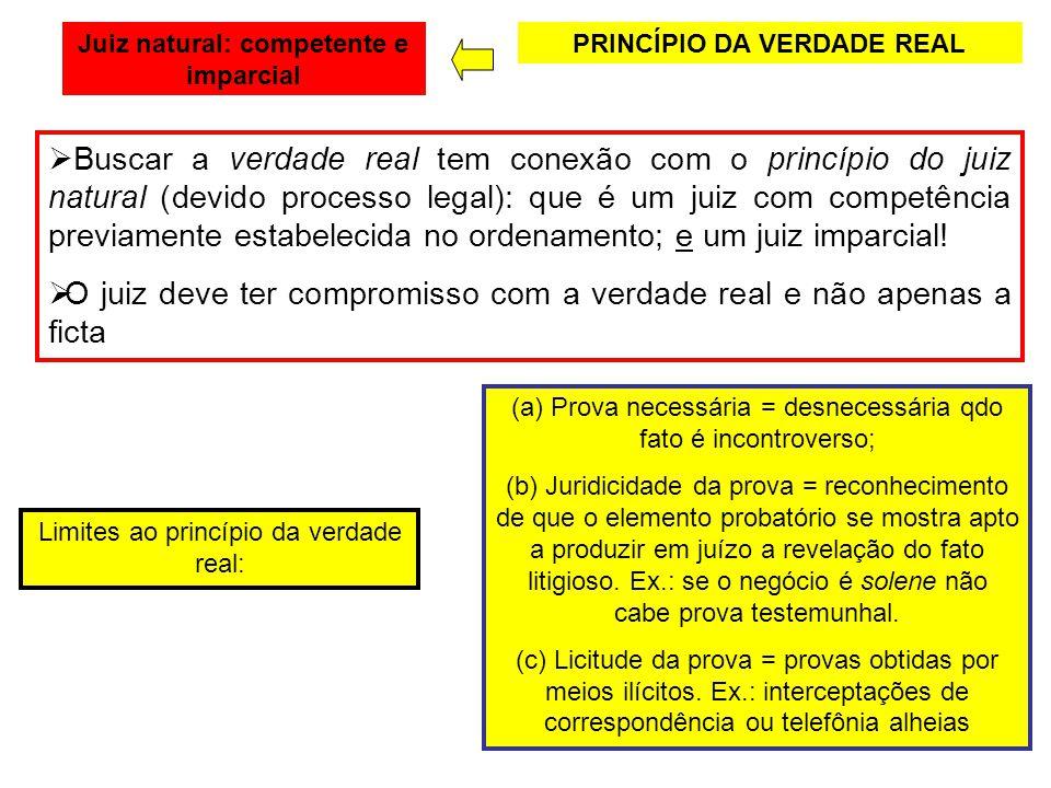 PRINCÍPIO DA VERDADE REAL Buscar a verdade real tem conexão com o princípio do juiz natural (devido processo legal): que é um juiz com competência pre