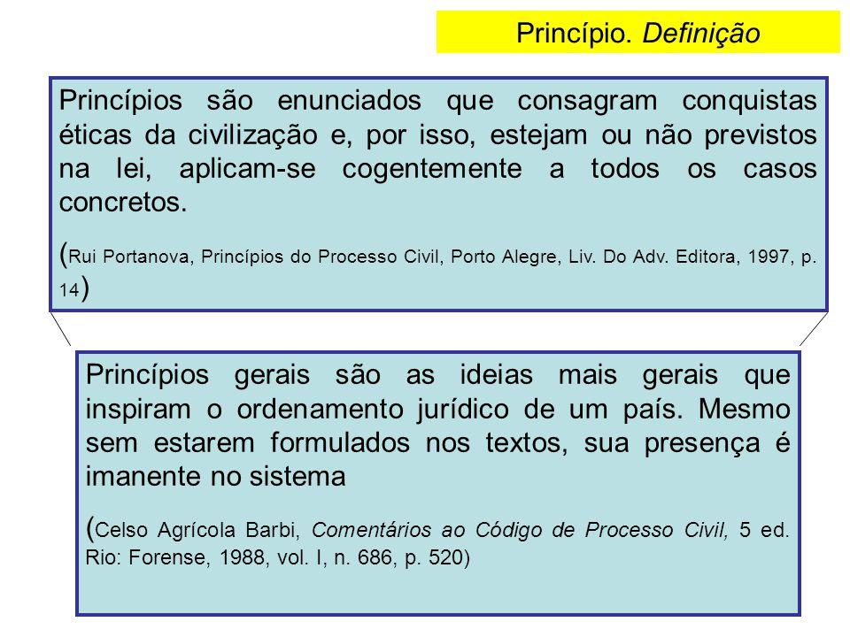 Princípio. Definição Princípios são enunciados que consagram conquistas éticas da civilização e, por isso, estejam ou não previstos na lei, aplicam-se