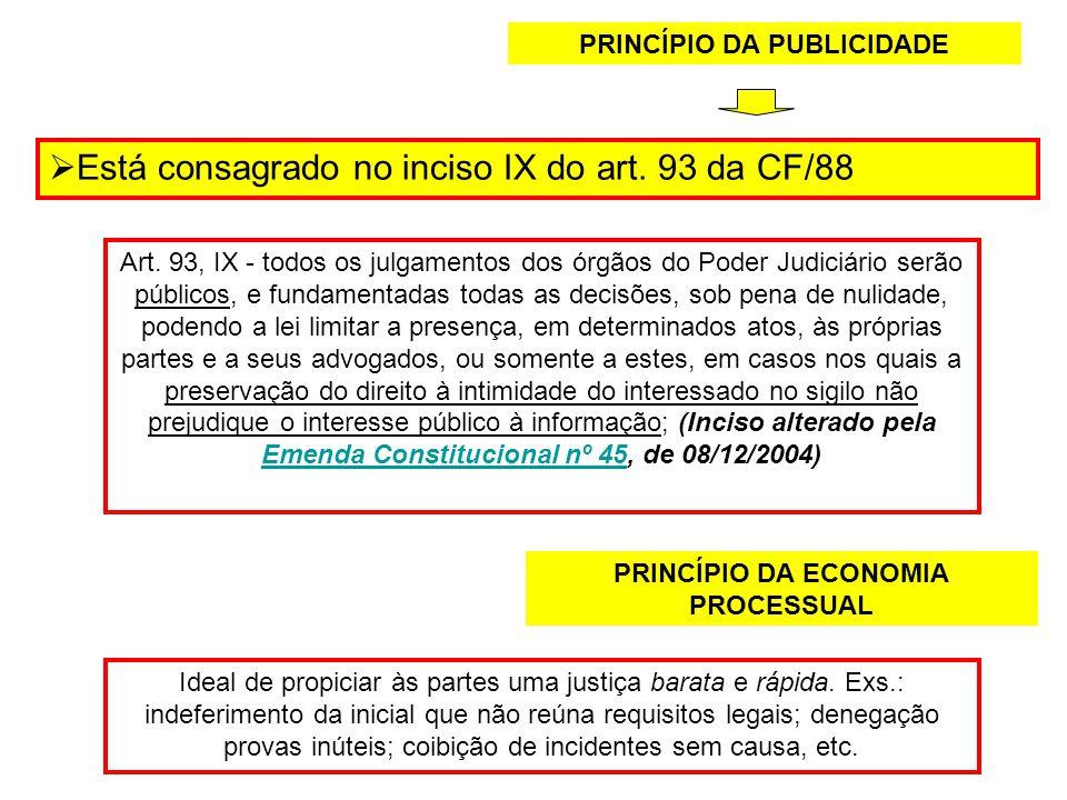 PRINCÍPIO DA PUBLICIDADE Está consagrado no inciso IX do art. 93 da CF/88 Art. 93, IX - todos os julgamentos dos órgãos do Poder Judiciário serão públ