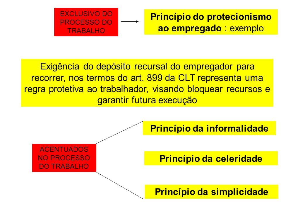 Princípio do protecionismo ao empregado : exemplo Exigência do depósito recursal do empregador para recorrer, nos termos do art. 899 da CLT representa