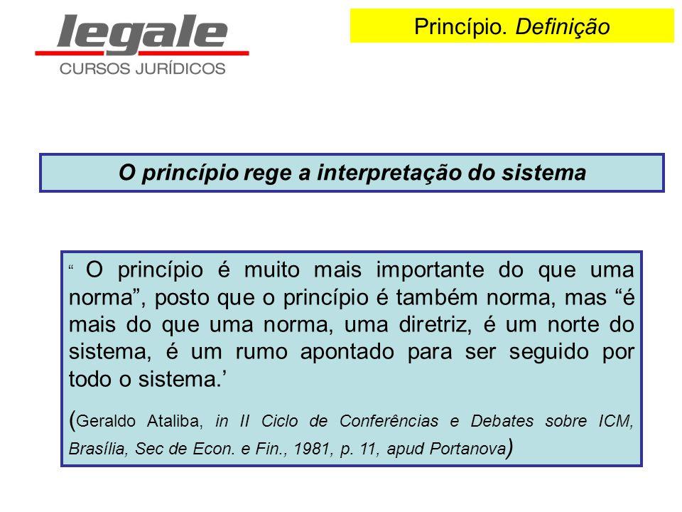 Princípio. Definição O princípio rege a interpretação do sistema O princípio é muito mais importante do que uma norma, posto que o princípio é também