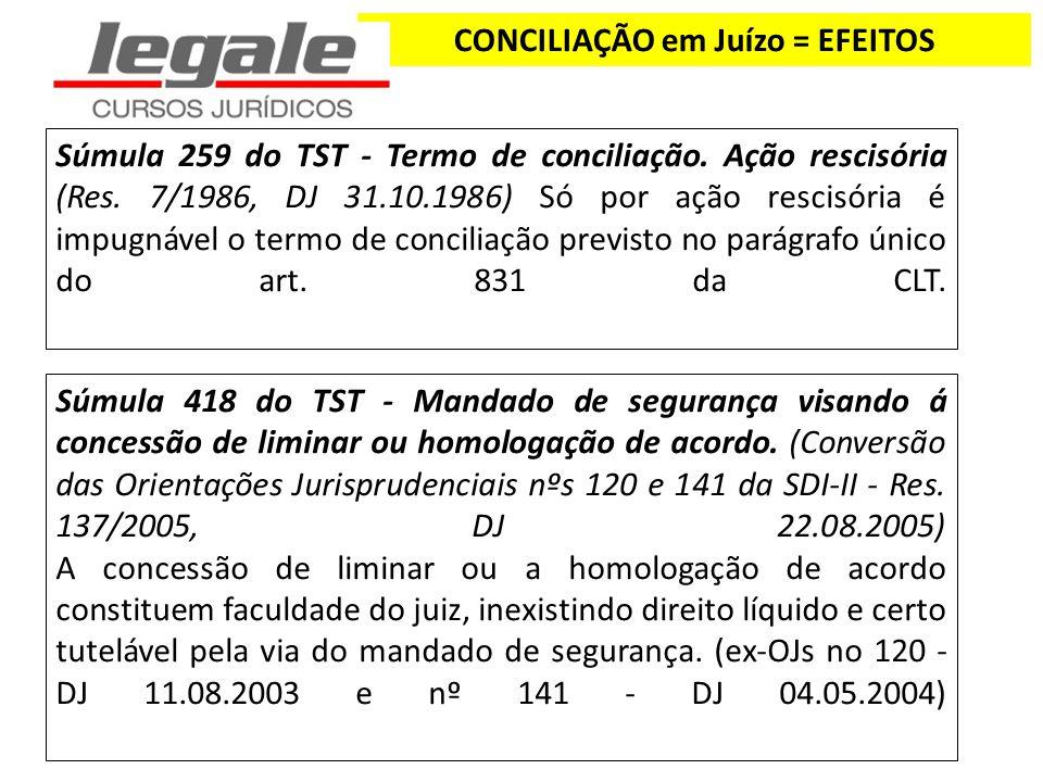 CONCILIAÇÃO em Juízo = EFEITOS Súmula 259 do TST - Termo de conciliação. Ação rescisória (Res. 7/1986, DJ 31.10.1986) Só por ação rescisória é impugná