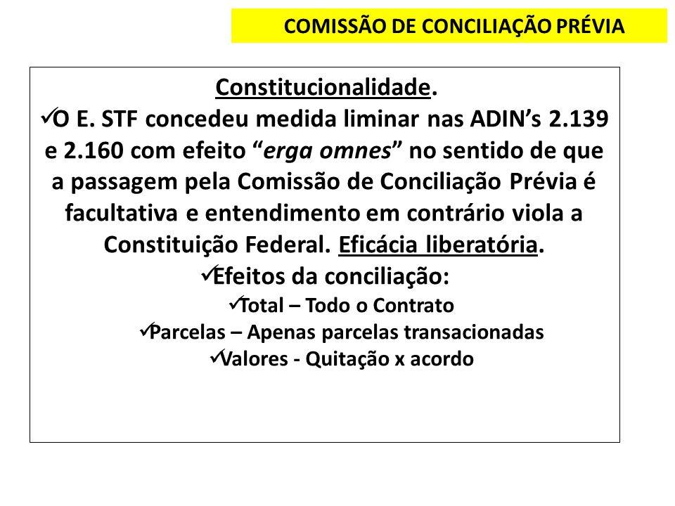 COMISSÃO DE CONCILIAÇÃO PRÉVIA Constitucionalidade. O E. STF concedeu medida liminar nas ADINs 2.139 e 2.160 com efeito erga omnes no sentido de que a