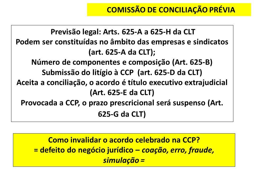 COMISSÃO DE CONCILIAÇÃO PRÉVIA Previsão legal: Arts. 625-A a 625-H da CLT Podem ser constituídas no âmbito das empresas e sindicatos (art. 625-A da CL