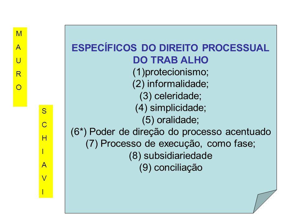 ESPECÍFICOS DO DIREITO PROCESSUAL DO TRAB ALHO (1)protecionismo; (2) informalidade; (3) celeridade; (4) simplicidade; (5) oralidade; (6*) Poder de dir