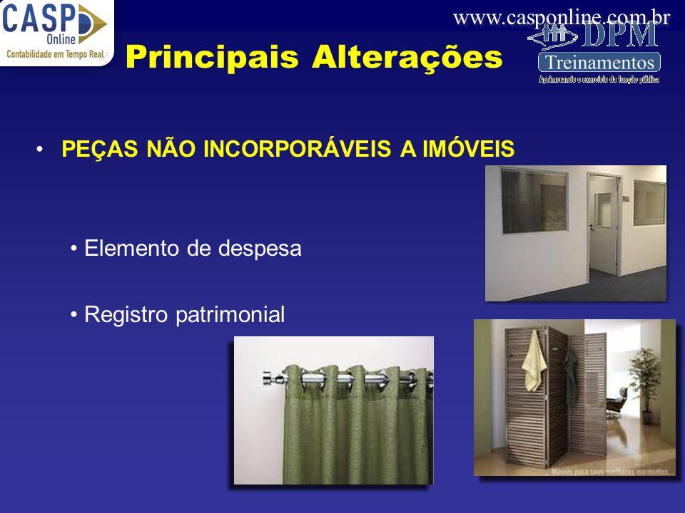 www.casponline.com.br PEÇAS NÃO INCORPORÁVEIS A IMÓVEIS Elemento de despesa Registro patrimonial Principais Alterações