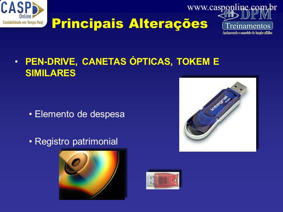www.casponline.com.br PEN-DRIVE, CANETAS ÓPTICAS, TOKEM E SIMILARES Elemento de despesa Registro patrimonial Principais Alterações
