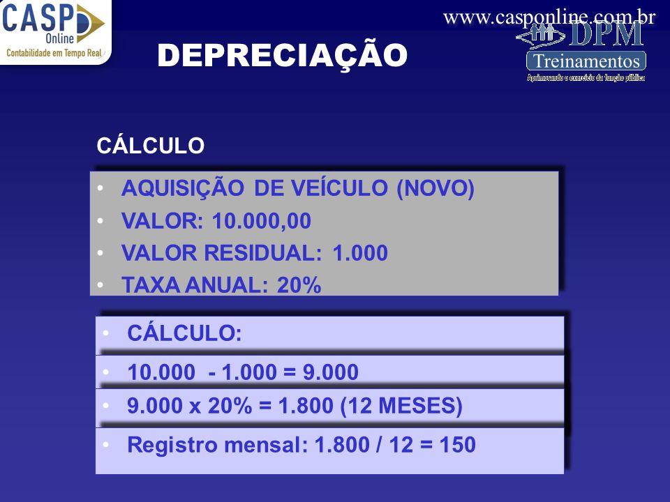 www.casponline.com.br CÁLCULO AQUISIÇÃO DE VEÍCULO (NOVO) VALOR: 10.000,00 VALOR RESIDUAL: 1.000 TAXA ANUAL: 20% AQUISIÇÃO DE VEÍCULO (NOVO) VALOR: 10